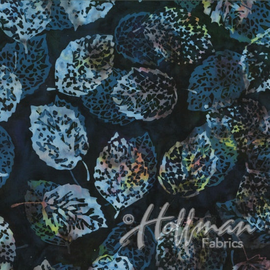 Hoffman Bali Batiks 2133 440 Multi-Colored Shadowed Leaves On Blue Liquorice By The Yard