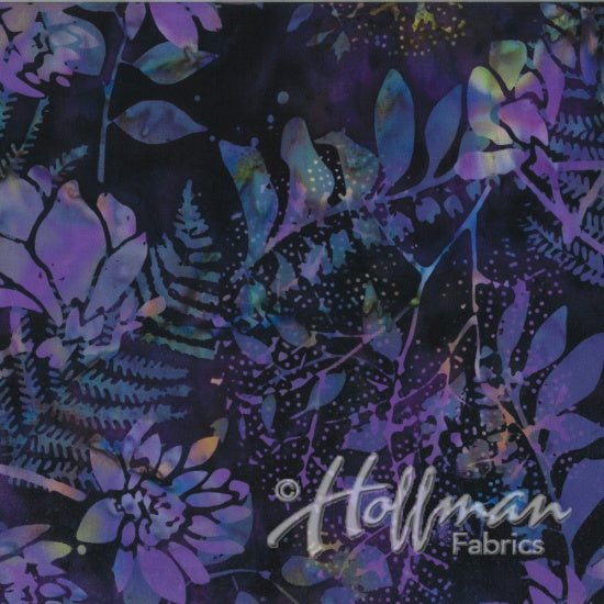 Hoffman Bali Batiks 2140 N45 New Grape Flowers And Leaves By The Yard
