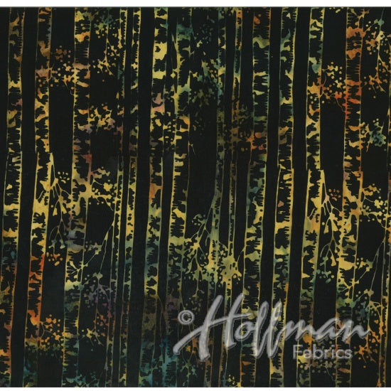 Hoffman Fabrics Bali Batiks 2141 286 Sugar Plum Aspens  On Black By The Yard