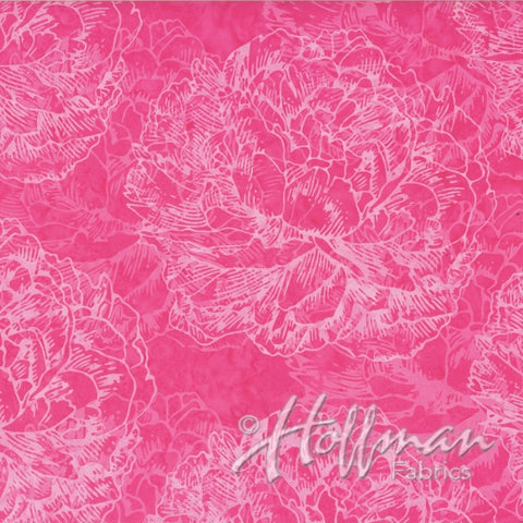 Hoffman Bali Batiks 2145 434  Large Shadowed Floral In Radish By The Yard