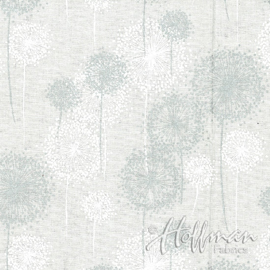 Hoffman Sparkle And Fade 4412 3S Metallic Dandelion Silver on White By The Yard