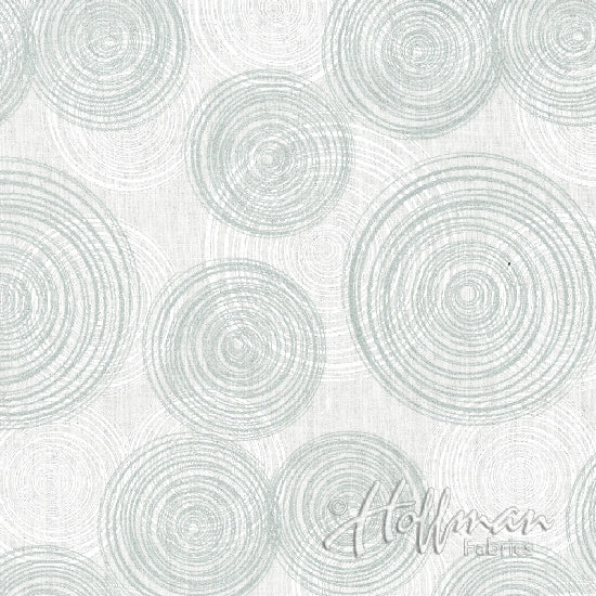 Hoffman Sparkle And Fade 4414 3S Metallic Circles White/Silver By The Yard