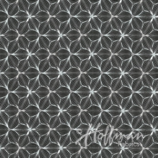 Hoffman Sparkle And Fade 4416 4S Metallic Silver Geometric on Black By The Yard