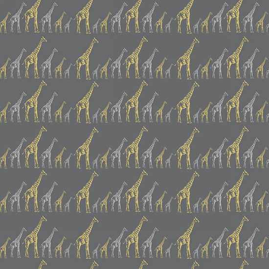 Hoffman Sparkle And Fade 4468 55M Metallic Giraffe on Grey By The Yard