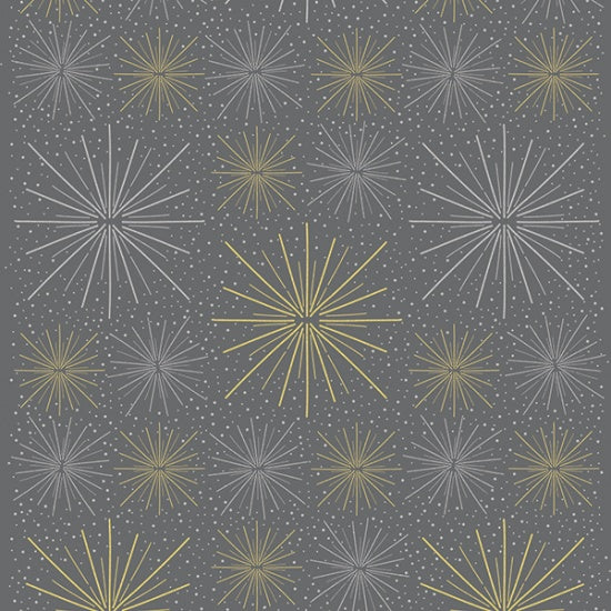 Hoffman Sparkle And Fade 4472 55M Metallic Star Burst on Grey By The Yard