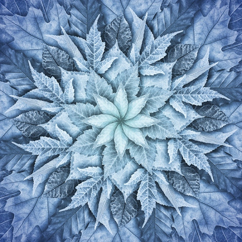 "Hoffman Dream Big Leaf 4617 621 Arctic Blue Leaf 43"" Panel By the Panel (not by the yard)"