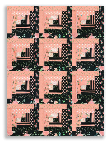 Riley Blake Metallic Pre-cut 12 Block Log Cabin Quilt Kit - EBONY Bliss 2