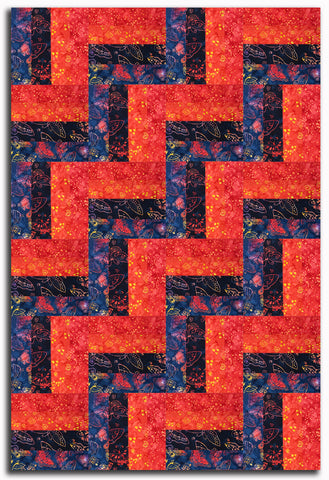Clothworks Laurel Burch Fresh Batiks Pre-Cut 24 Block Rail Fence Quilt Kit - Flying Colors