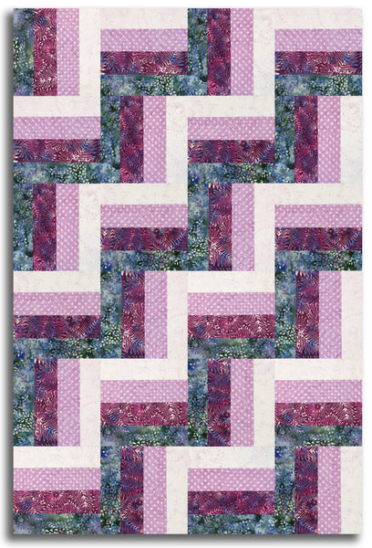 Hoffman Batik Pre-Cut 24 Block Rail Fence Quilt Kit - Ladies In The Garden