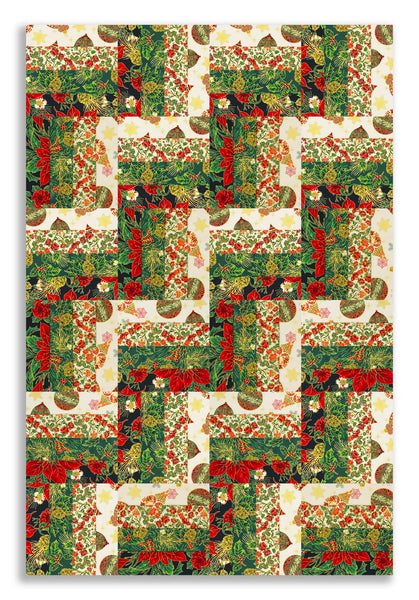 Jordan Fabrics Pre-cut 24 Block Rail Fence Quilt Kit - Christmas Blossom