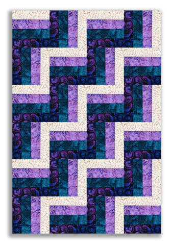 Robert Kaufman Batiks Pre-Cut 24 Block Rail Fence Quilt Kit - Greenhouse Cream