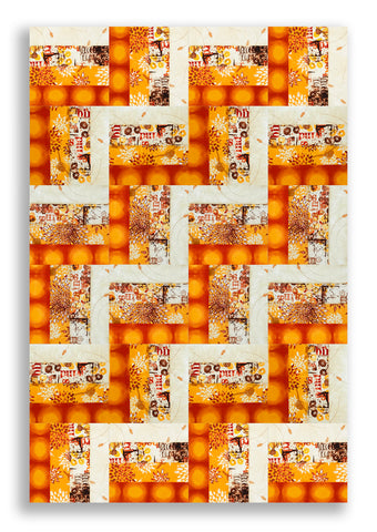 RJR Pre-cut 24 Block Rail Fence Quilt Kit - Pollinator Honey