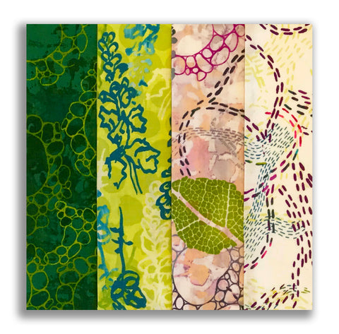 RJR Pre-cut 24 Block Rail Fence Quilt Kit - Urban Garden Green