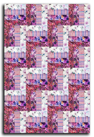 RJR Pre-cut 24 Block Rail Fence Quilt Kit - Bloom Bloom Butterfly Orchid