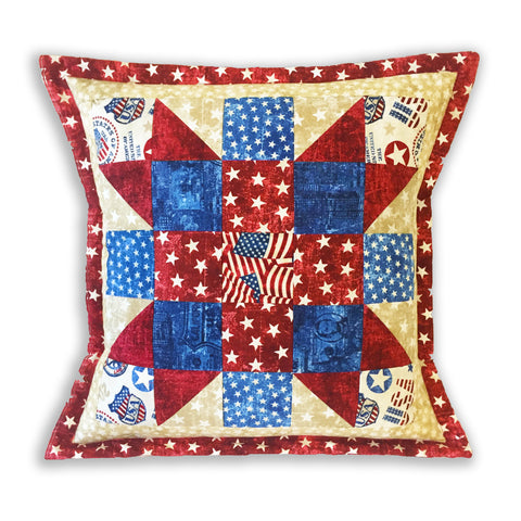 Northcott Americana Sister's Choice Pre-cut Pillow Kit - Stars & Stripes Red