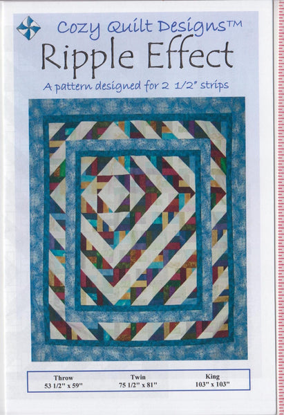 RIPPLE EFFECT Cozy Quilt Pattern for 2 1/2 Inch Strips