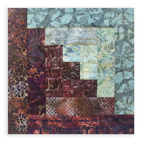 Hoffman Bali Batiks Pre-Cut 12 Block Log Cabin Quilt Kit - River Rock