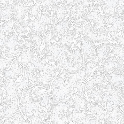 Hoffman Metallic Holiday Decadence 7706 113 Frost/Silver Curled Leaf By The Yard