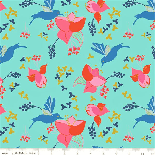 Riley Blake Metallic Sweet Honey Kisses SC8960 Aqua Sparkle Birds & Flowers by the yard