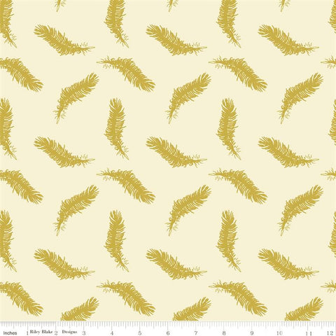 Riley Blake Metallic Sweet Honey Kisses SC8961 Cream Sparkle Feather by the yard