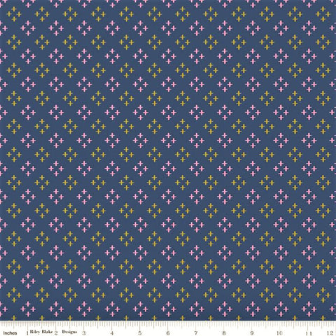 Riley Blake Metallic Sweet Honey Kisses SC8963 Navy Stars by the yard