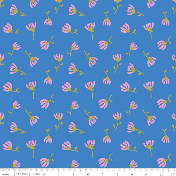 Riley Blake Metallic Sweet Honey Kisses SC8965 Blue Sparkle Cosmos by the yard