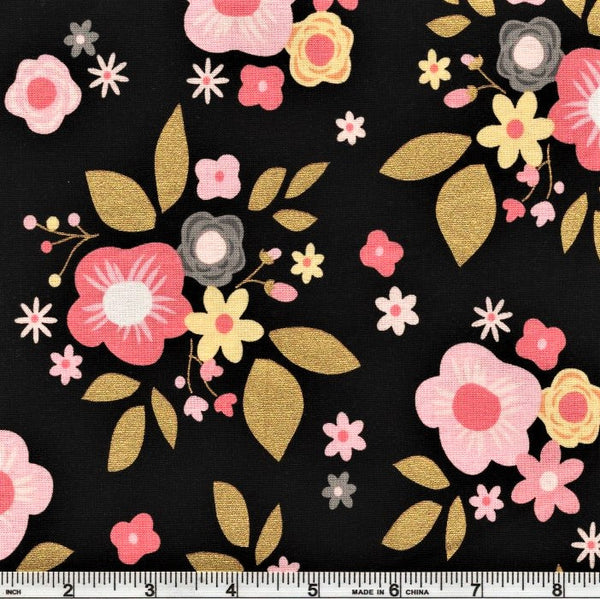 Riley Blake Metallic A Little Bit Of Sparkle SC8980 Black Abundantly Floral By The Yard