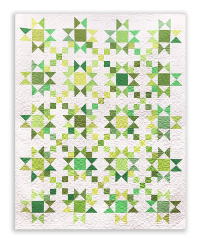 "Stars & 4 Patches Quilt - Green/White 72 x 90"" Fully Finished Sample Quilt"
