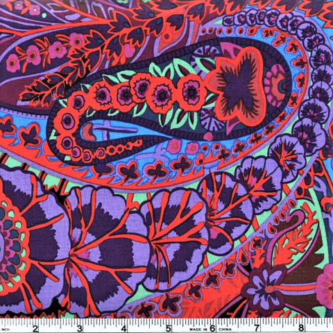 Free Spirit Kaffe Fassett GP60 Purple Paisley Jungle By The Yard