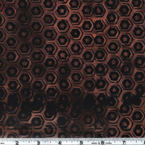 Anthology Batik 9528 Brown Abstract Hexagon Stars By The Yard