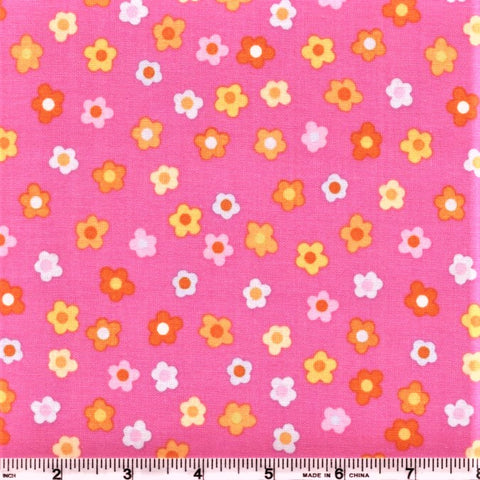 RJR Kitschy Kawaii 1948 2 Mini Flowers On Pink By The Yard