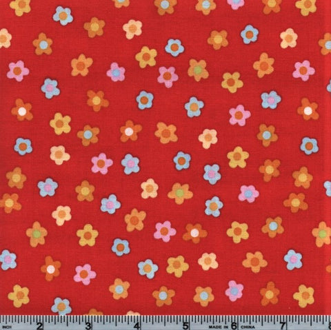 RJR Kitschy Kawaii 1948 4 Mini Flowers On Red By The Yard