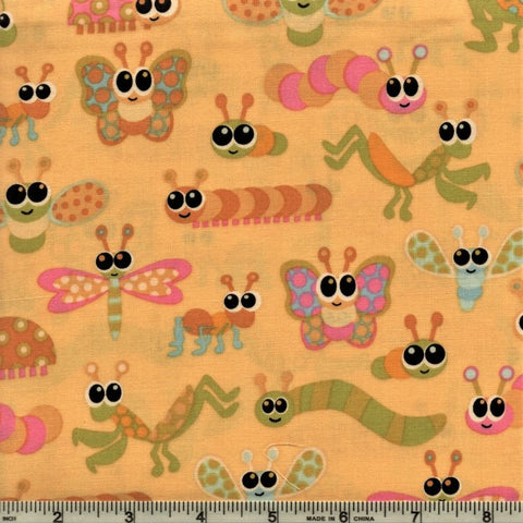 RJR Kitschy Kawaii 1944 1 Wide Eyed Insects On Yellow By The Yard