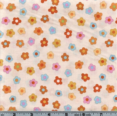 RJR Kitschy Kawaii 1948 1 Mini Flowers On White By The Yard