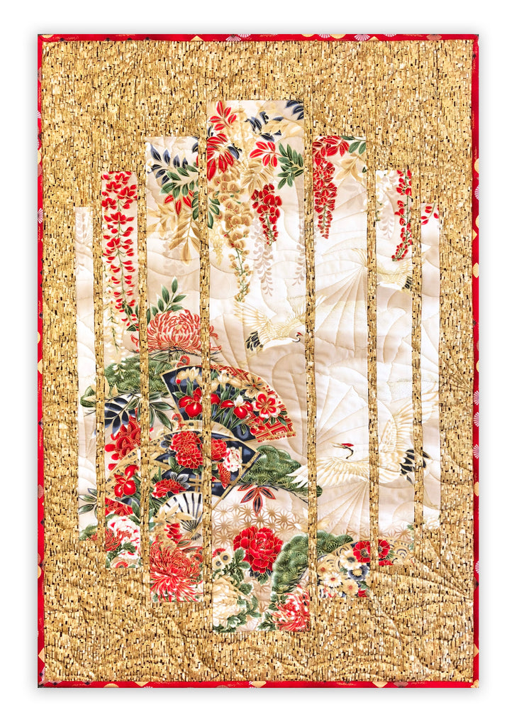 Asian quilting fabric panels