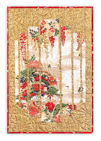 Robert Kaufman Pre-Cut Asian Metallic Secret Window Panel Wall Hanging Quilt Kit - Crimson