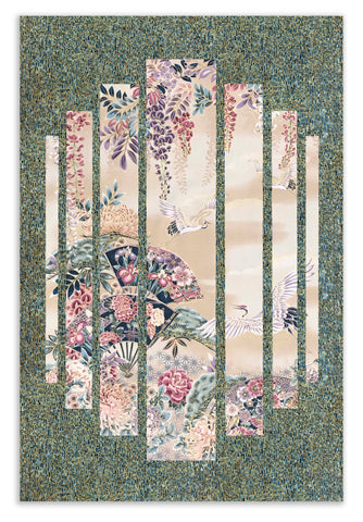 Robert Kaufman Pre-Cut Asian Metallic Secret Window Panel Wall Hanging Quilt Kit - Dark Teal