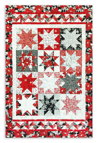 Kaufman Holiday Flourish Pre-Cut Floating Point Christmas Stars Quilt Kit - Silver Flourish