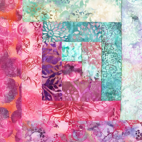 Hoffman Bali Batik Pre-Cut 12 Block Log Cabin Quilt Kit - Starfish