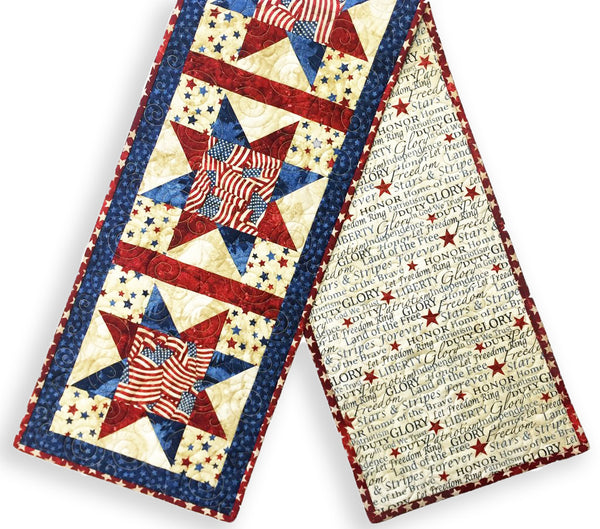 Northcott Stonehenge Pre-cut North Star Table Runner Kit - Stars & Stripes