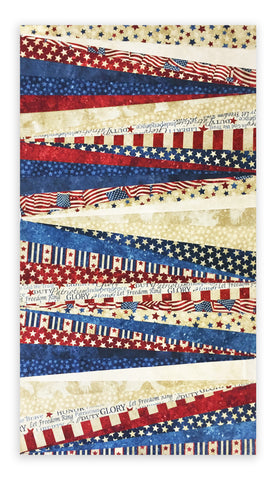 Northcott Stonehenge Americana 2 1/2 Inch Strip Set 42 Strips - Stars & Stripes