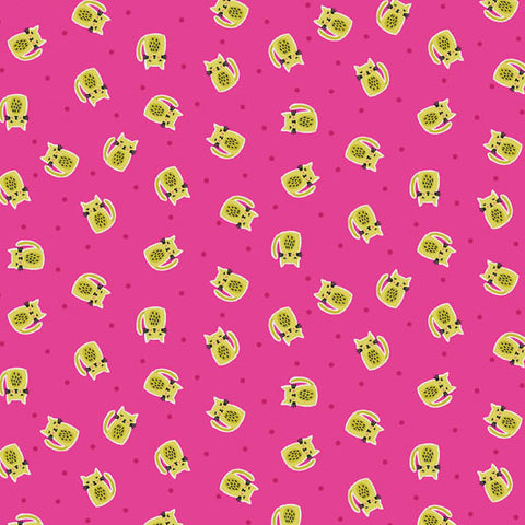 Makower UK Kitty 1917 P Chartreuse Kitties on Fushia By The Yard