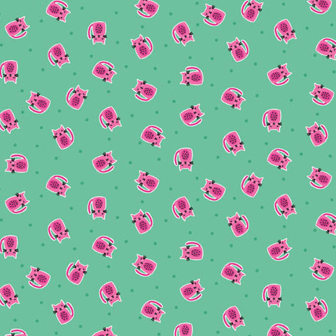 Makower UK Kitty 1917 T Fushia Kitties on Aquamarine By The Yard