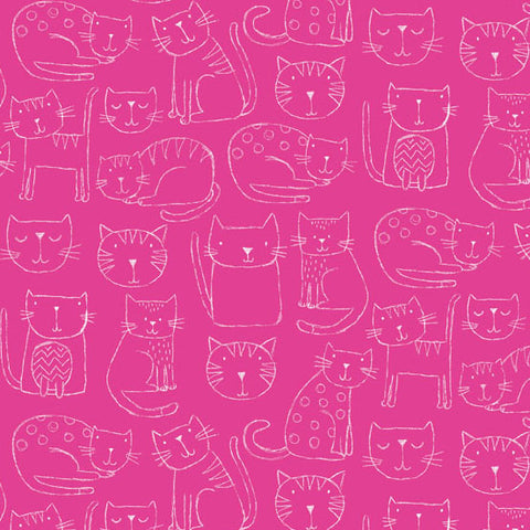 Makower UK Kitty 1918 Stick Kitties on Fushia By The Yard