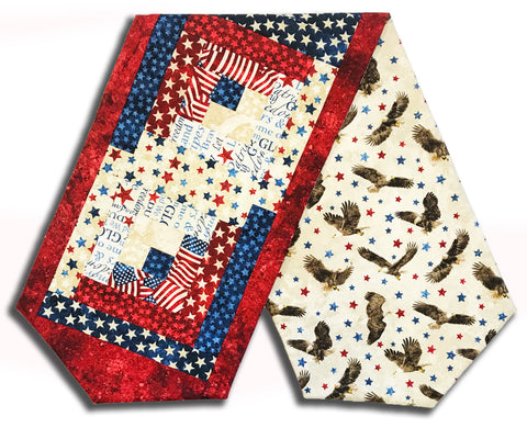 Northcott Stonehenge Americana Pre-Cut Log Cabin Table Runner Kit - Stars & Stripes 2020