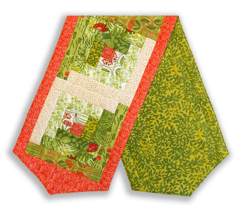 Moda Pre-Cut Log Cabin Table Runner Kit - Blushing Peonies Green