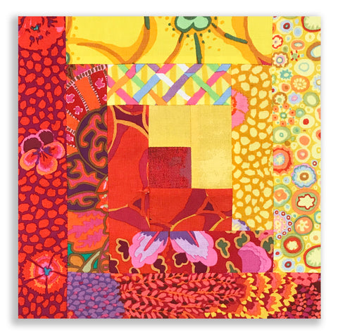 Kaffe Fassett Designs PRE-CUT 12 Block Log Cabin Quilt Kit - Tiger Lily