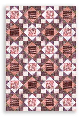 Hoffman Bali Batiks Pre-Cut 12 Block King's Crown SAMPLE Quilt Kit - Tea Rose