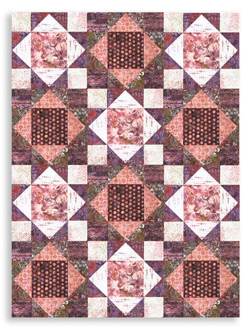 Hoffman Bali Batiks Pre-Cut 12 Block King's Crown Quilt Kit - Tea Rose