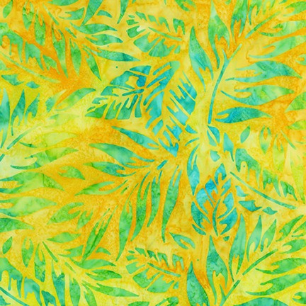 Kaufman Totally Tropical Batik 19468 130 Sunshine Tropic Leaf Mix By The Yard
